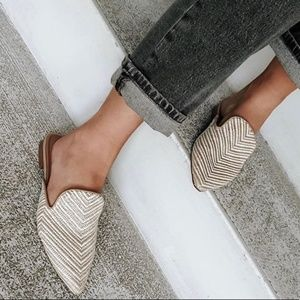 a new day   Tan Striped Mules